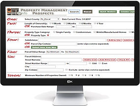 Image of a computer display showing the main menu that a property manager would see when they login to MMT's SearchNet.