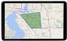 Displays MMT SearchNet sample map that appraisers can use to find properties on an Ipad