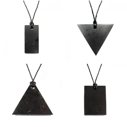 Flat Shungite Pendants & Tourmaline Stone