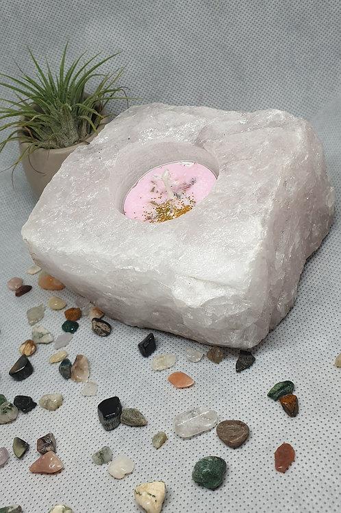 Chunky Rose Quartz Tealight Holder