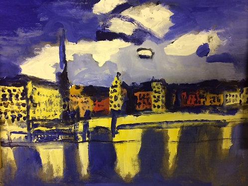 Blue Stockholm Akrylmålningar