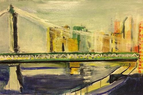 Manhattan Bridge New York Akrylmålning