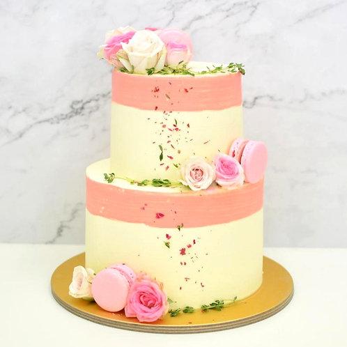 Pink Painted Rim Floral (2-tier)