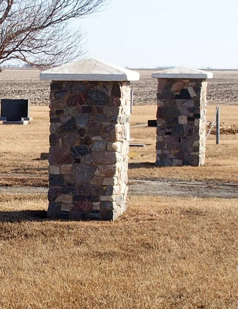 Pillars at Cemetery Entrance (closeup)