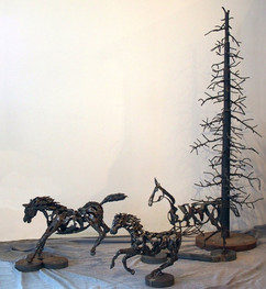 Three Horses & Tree