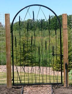 Garden Gate with Cattails