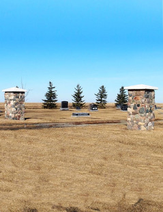 Pillars at Cemetery Entrance (distant)