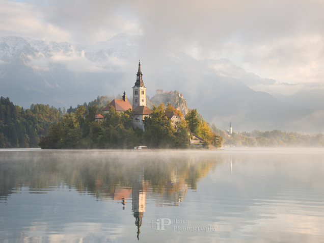 Clouds and fog at Lake Bled