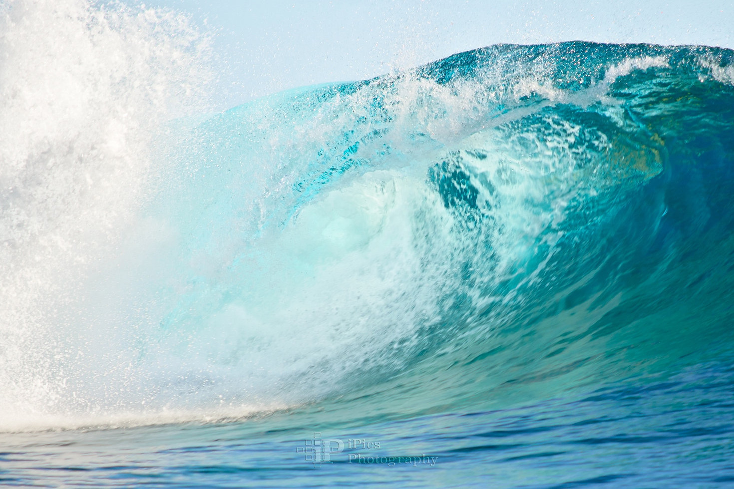 Pacific big surfing wave breaking