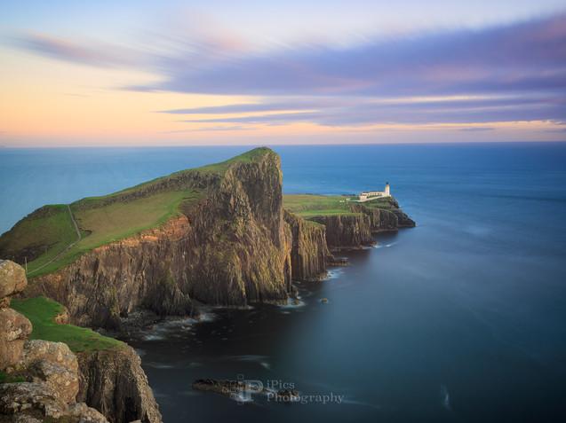 Neist Point Lighthouse at sunset