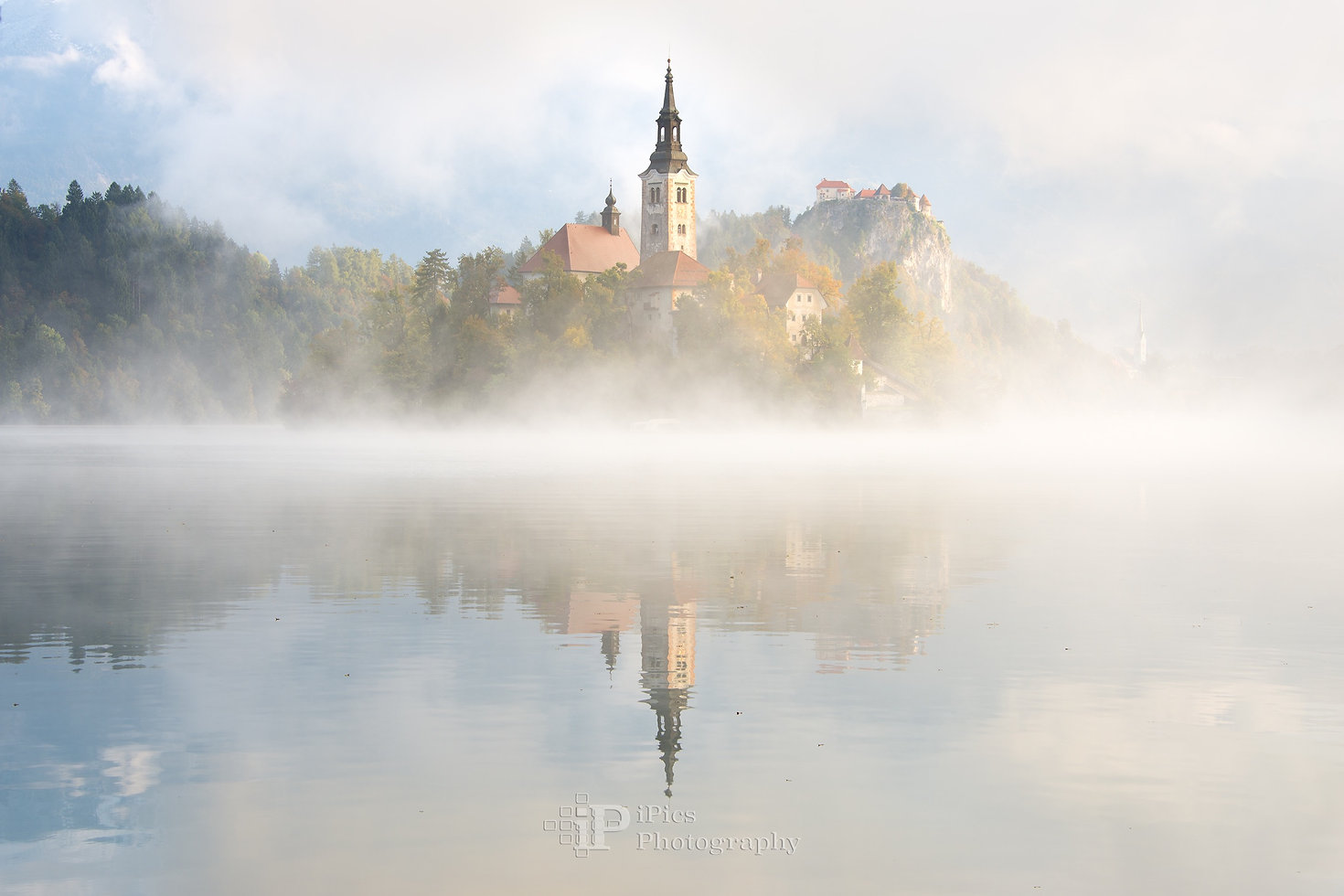 Morning fog at Lake Bled in Slovenia