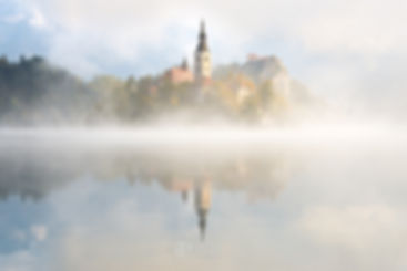 Morning fog at Lake Bled in Slovenia