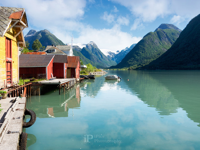 Fjord with boat houses in Norway