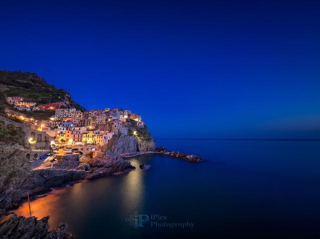 Manarola village in Cinque Terre in the night