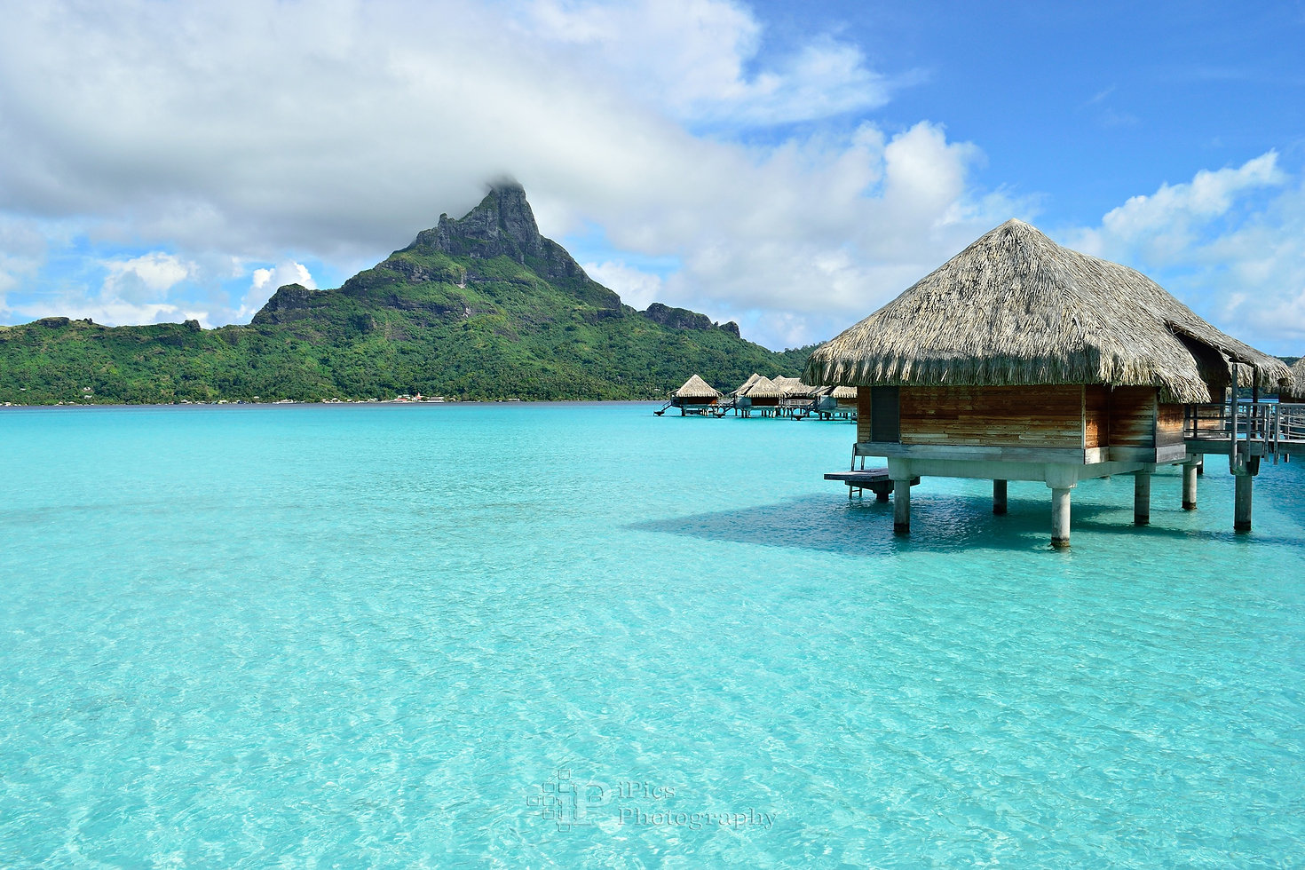Overwater bungalow resort on Bora Bora