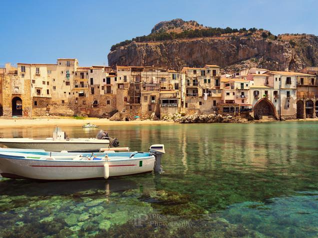 Boats in Cefalu harbor, Sicily