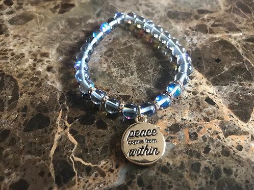 Dark Opalite Charm Bracelet   Peace