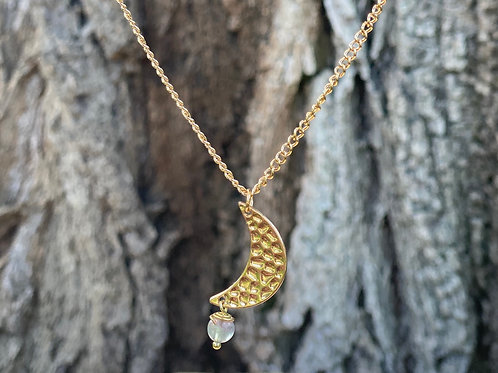 Crescent Moon Pendant Necklace | Flourite