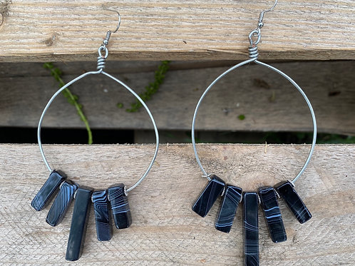 Large Banded Agate Hoops