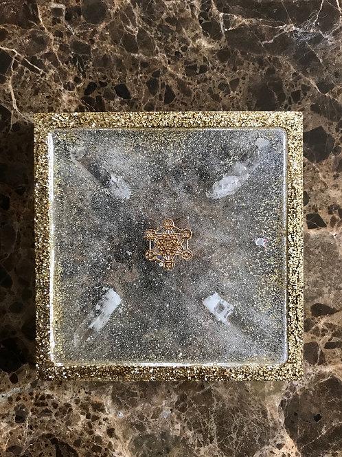 Multipurpose Tray   Golden Glitter Square