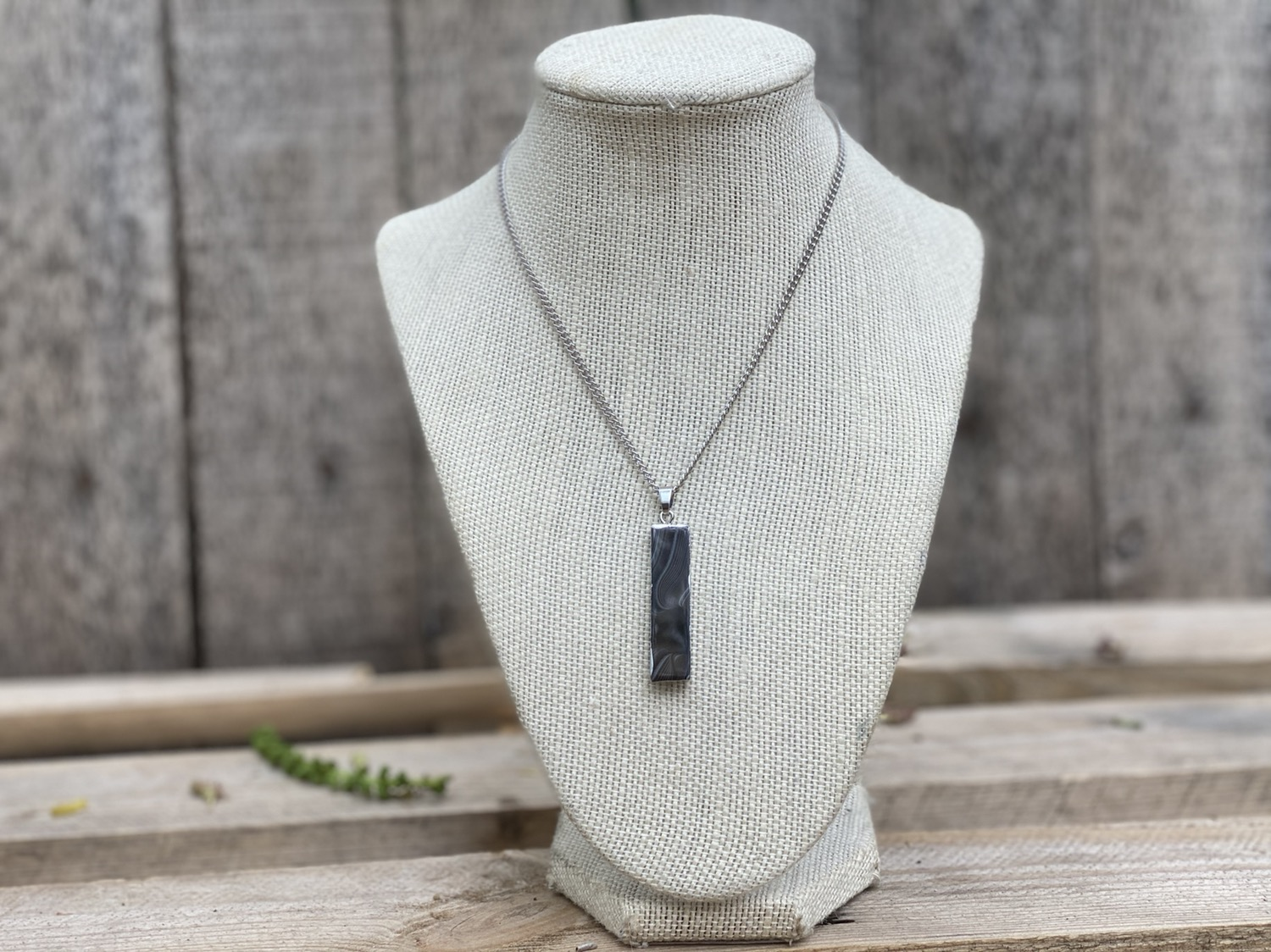 Banded Agate Silver Pendant Necklace