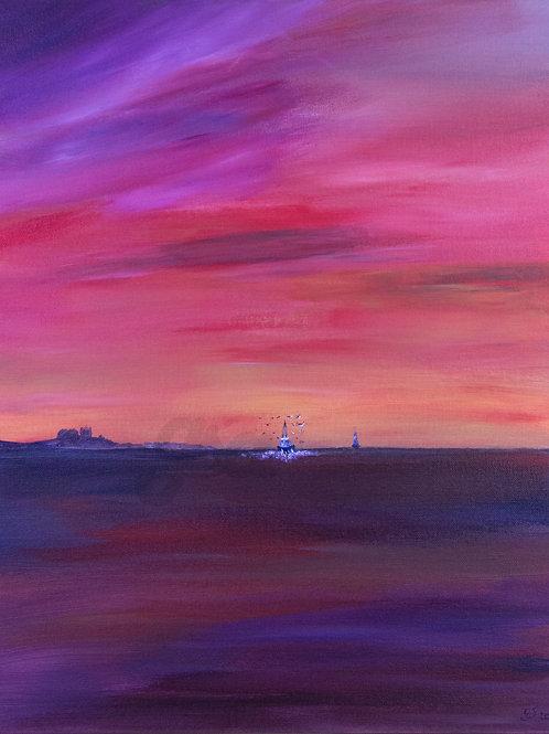 Bringing the Catch Home - Bamburgh Sunset