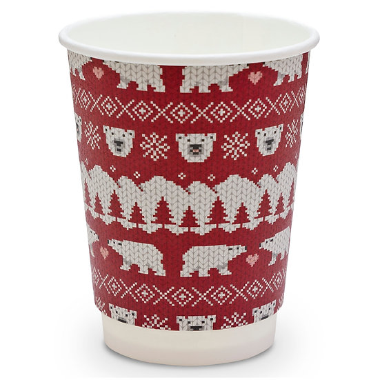 12oz Vegware double wall polar bear Christmas cups
