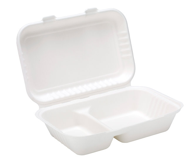 Bagasse 2 Compartment Lunch Box 9x6""
