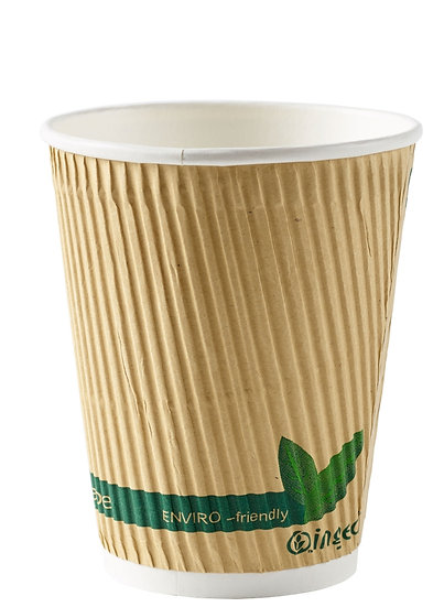 12oz Kraft Compostable Ripple Insulating Jacket Cup