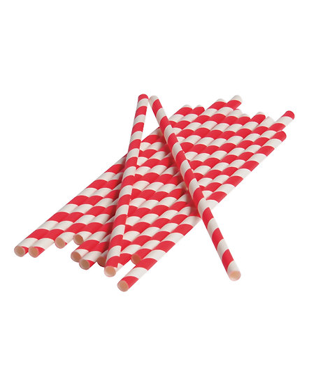Red & White Striped Paper Drinking Straw