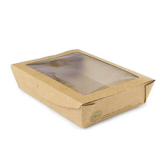 Salad Box - 1100ml compostable with window