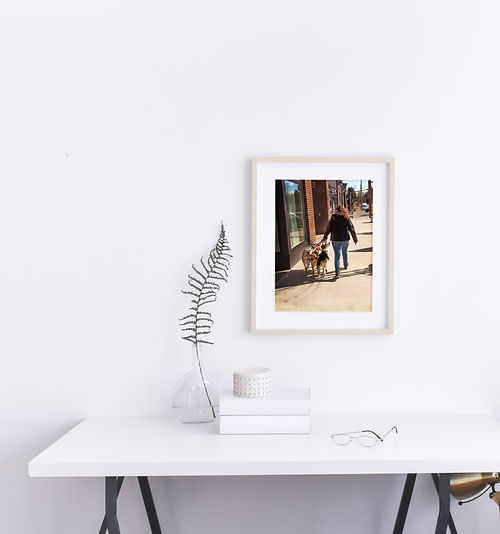 wood framed image on the wall with lady walking her trio of dogs down an urban sidewalk