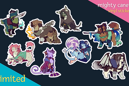 mighty canein: stickers