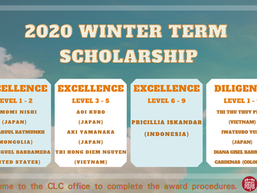 2020冬季班獎學金獲獎名單 2020 Winter Term Scholarship Recipients Announced