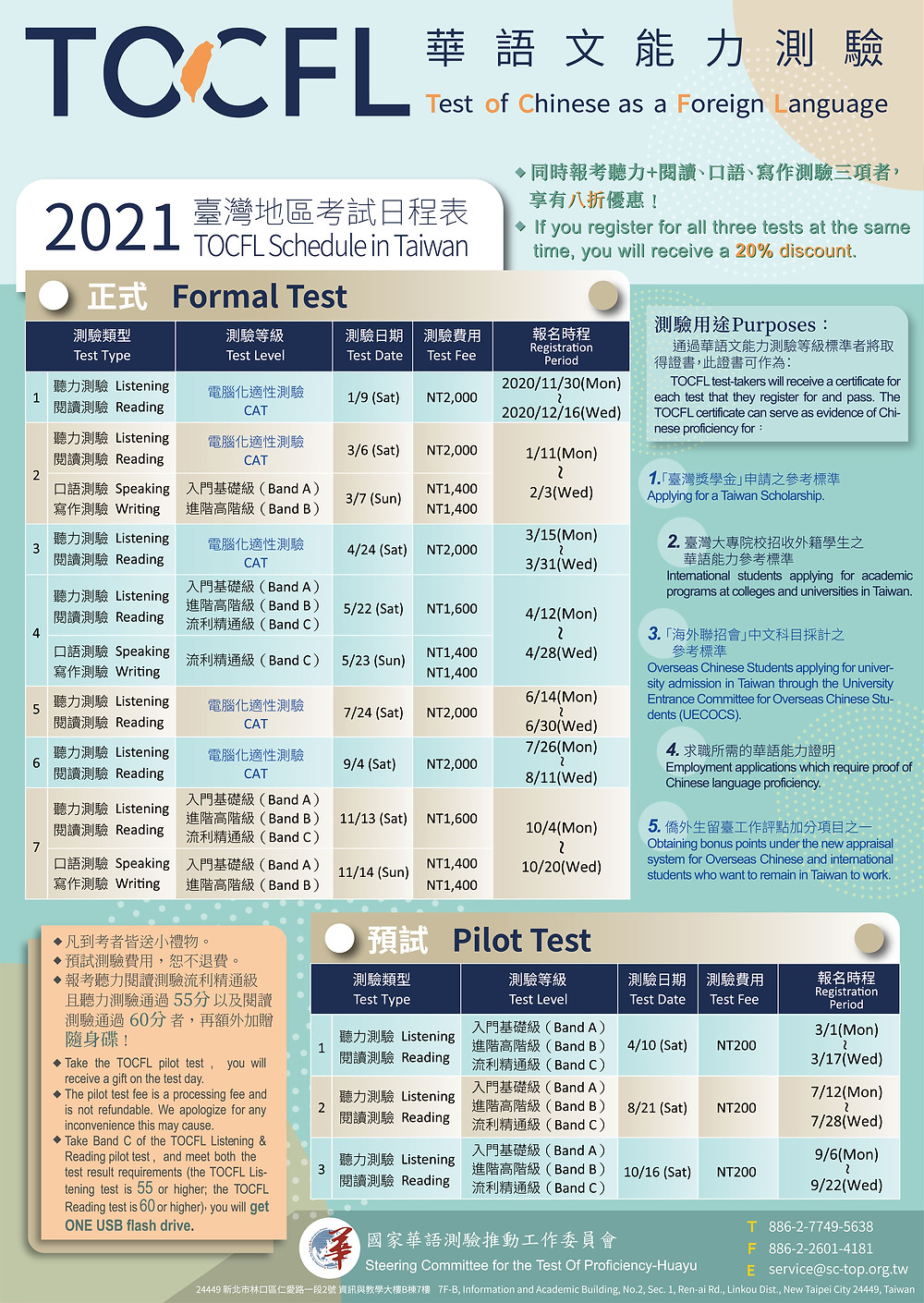 2021 TOCFL Formal Test Schedule in Taiwan