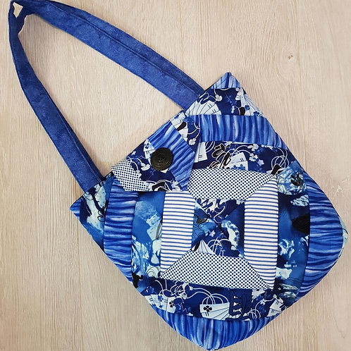 """Blue Patchwork """"Chinese"""" Fabric Bag"""