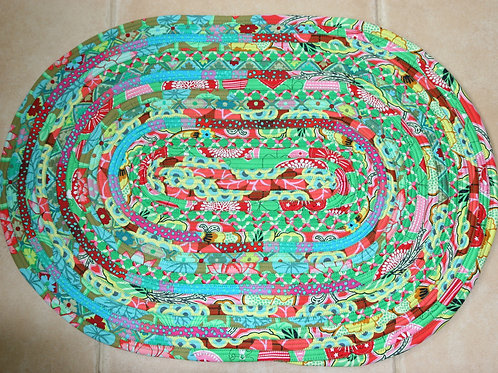 Green and Red Spiral Jelly Roll Rug