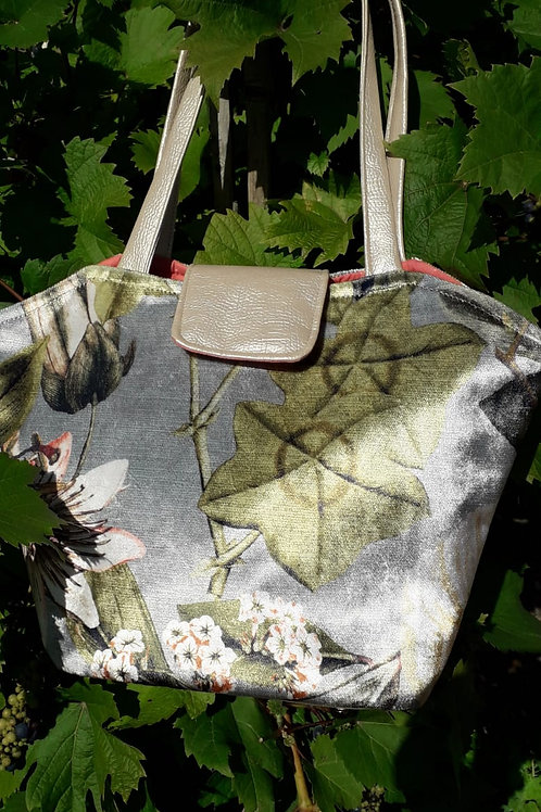 Green and Grey Velvet Tote