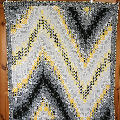 Yellow and Black Bargello Quilt