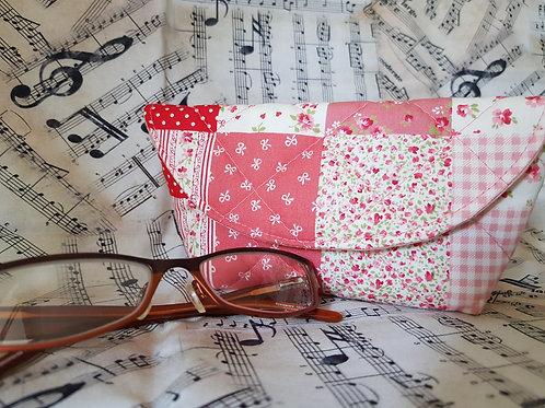 Pink Patchwork Glasses Case