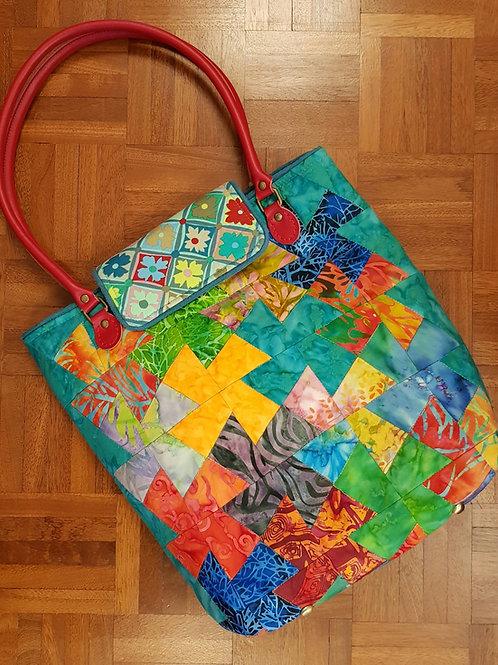 Pinwheel Batik Tote Bag