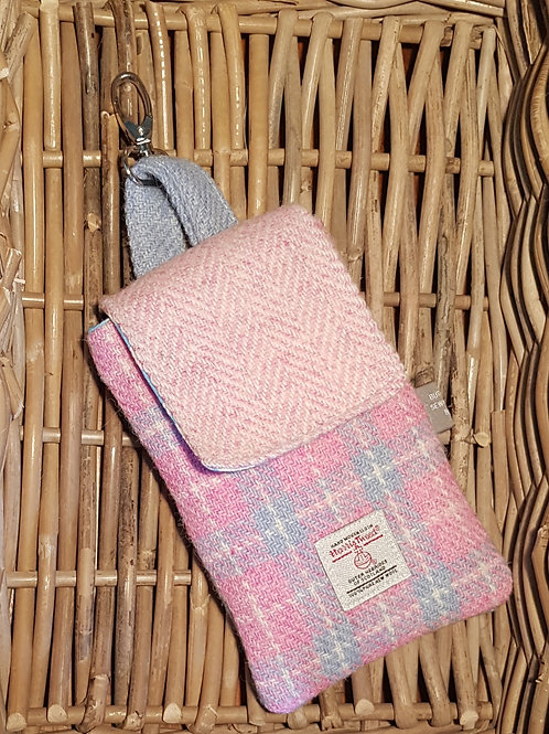 Clip On Pouch Large - Pink Harris Tweed