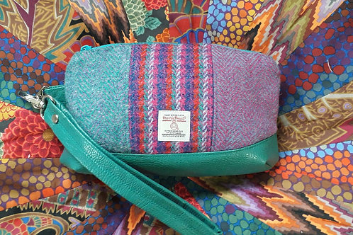"""Clematis Wristlet"" - Purple and Turquoise Harris Tweed"