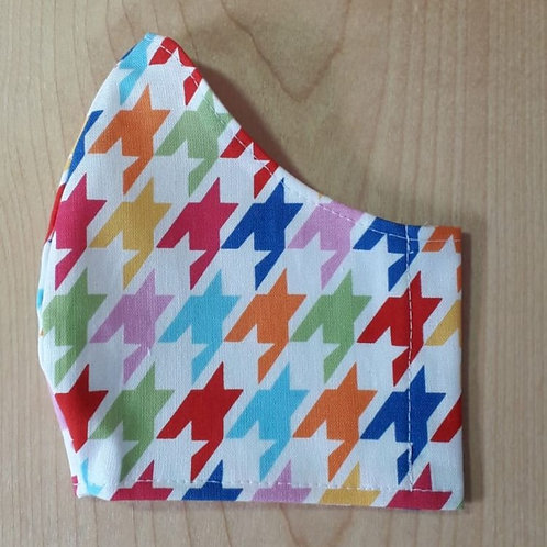 Multi Coloured Houndstooth Shaped Mask