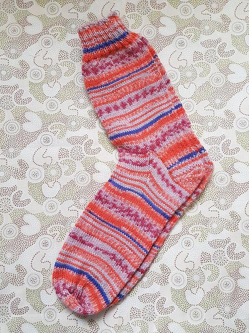 Socks Adult 9-11 - Pink and Orange