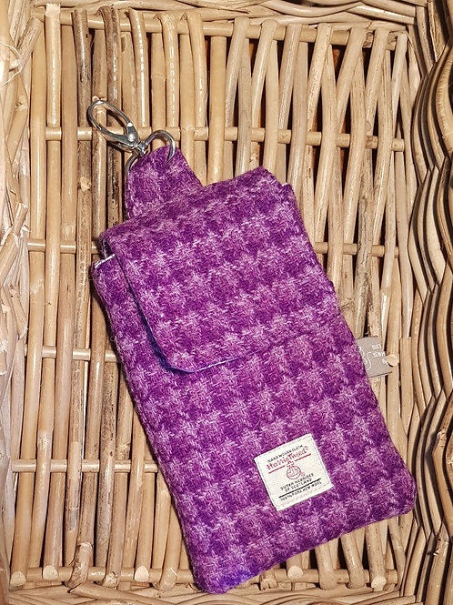 Clip On Pouch Large - Purple Harris Tweed