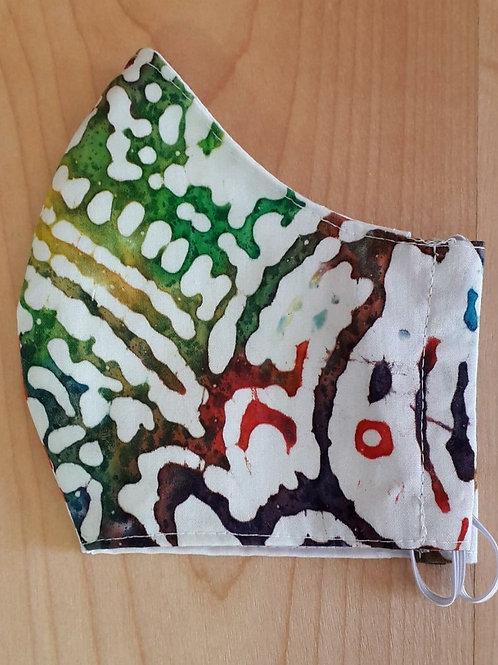 Rainbow Batik Style Shaped Mask