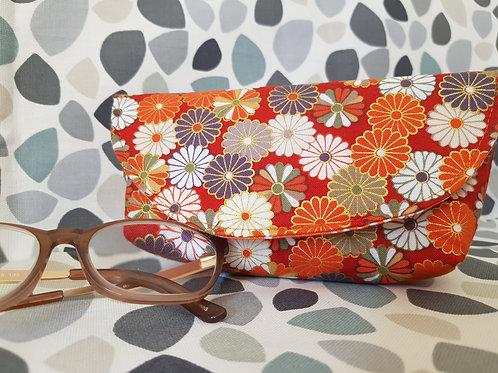 Orange Flowery Glasses Case