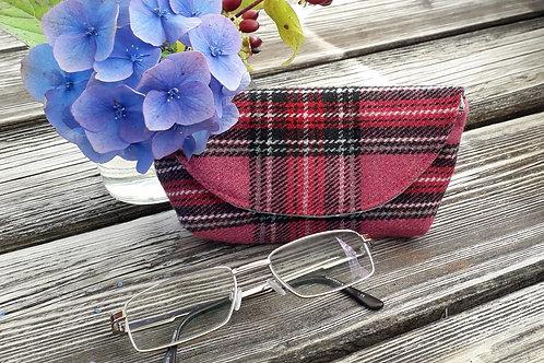 Pink Tartan Glasses Case