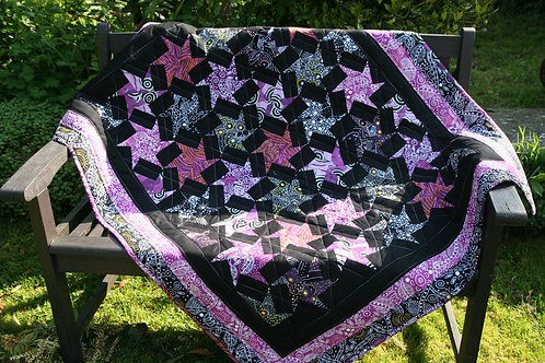 Purple and Black Hexi Stars Quilt